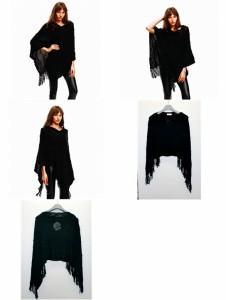 ヤスカワ 大きいサイズ 欧米ファッション 裾フリンジ セーター ポンチョ 661545
