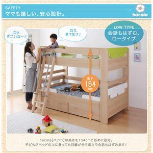 二段ベッド【hacola】【フレームのみ】フレームカラー:ホワイト パーツカラー:ライトブルー×ライトブルー 引出し収納付き二段ベッド【