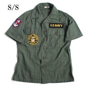 アメリカ軍 OG-107 ファティーグシャツ/半袖 〔 13 1/2サイズ :レディースフリー 〕 柄/NAVY 〔 カスタ