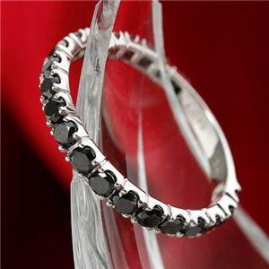 K18WG 1ctブラックダイヤリング 指輪 エタニティリング 17号