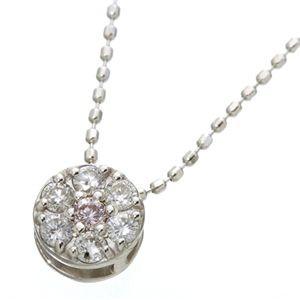 K18WG インビジュアルピンクダイヤモンドペンダント/ネックレス
