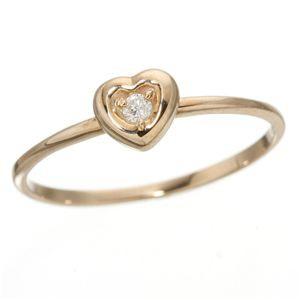K10ハートダイヤリング 指輪 ピンクゴールド 11号