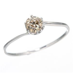 K18ホワイトゴールド 0.3ctシャンパンカラーダイヤリング 指輪 19号