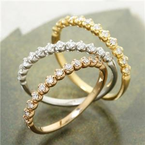 K18 ダイヤハーフエタニティリング イエローゴールド 17号 指輪