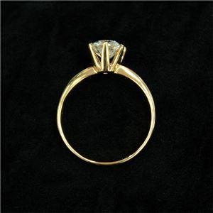 K18イエローゴールド 1.0ct一粒ダイヤリング 指輪 (鑑別書付き) 17号