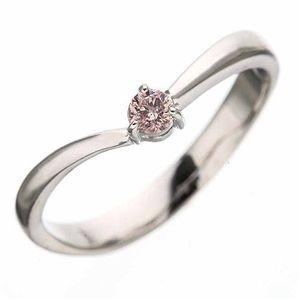 天然ピンクダイヤリング 指輪 0.07ct一粒リング15号
