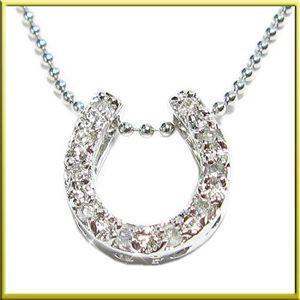 シルバー925天然ダイヤモンドペンダント/ネックレス 幸運を運ぶ馬蹄(ホースシュー)約40cm S341D〔ジュエリーケース
