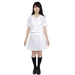 制服/コスプレ衣装 〔ホワイト Lサイズ〕 洗える セーラーブラウス リボン スカート付き ポリエステル 『カラーセーラ