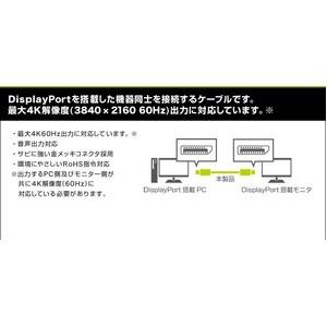 ミヨシ 4K対応 DisplayPort ケーブルDP-28/BK