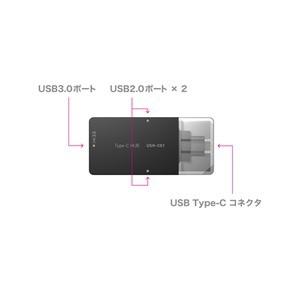 ミヨシ (MCO) USB-C対応 3ポートUSBハブ 直挿しタイプ USH-C01/SL シルバー