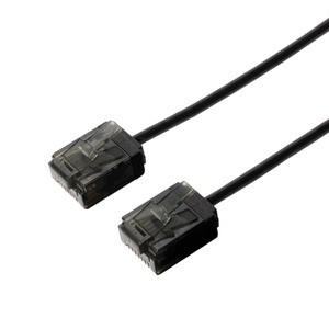 ミヨシ(MCO) カテゴリー6 ウルトラスリムLANケーブル TWS-U65BK 0.5m ブラック 〔3本セット〕