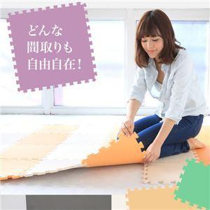 やさしいジョイントマット 約4.5畳(24枚入)本体 ラージサイズ(60cm×60cm) オレンジ単色 〔大判 クッションマ