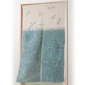 秩父ちぢみ のれん/暖簾 〔トンボとメダカ〕 幅85cm×長さ150cm 綿100% 洗える 日本製