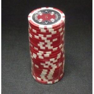 Quattro Assi(クアトロ・アッシー)ポーカーチップ(5)赤 〔25枚セット〕