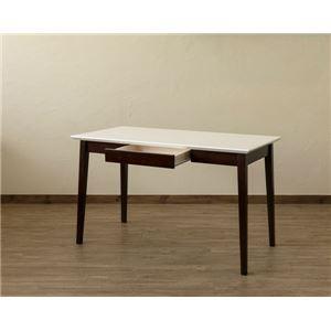 引き出し付きテーブル/パソコンデスク 【幅120cm×奥行60cm】 ホワイトウォッシュ 木脚 『Amelia』【代引不可】