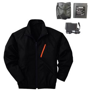 空調服 ポリエステル製長袖ブルゾン P-500BN 〔カラー:ブラック サイズ:L〕 リチウムバッテリーセット