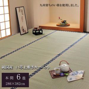 純国産/日本製 糸引織 い草上敷 『梅花』 本間6畳(約286×382cm)