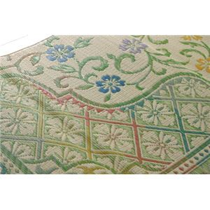 純国産/日本製 い草花ござカーペット 『アシック』 グリーン 江戸間8畳(約348×352cm)