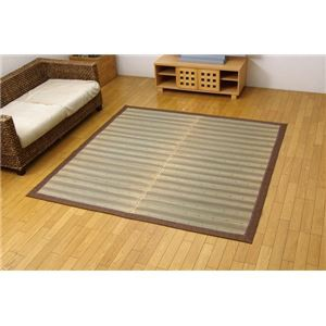 い草ラグカーペット 『D×京物語』 ブラウン 約191×191cm(裏:不織布)