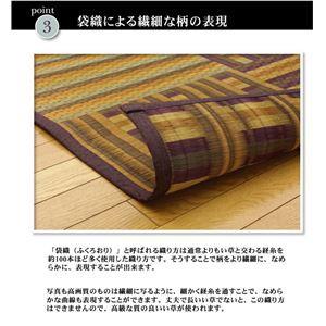 純国産/日本製 柳川段通 四重織 い草ラグカーペット 『ラスター』 ブラウン 約191×191cm