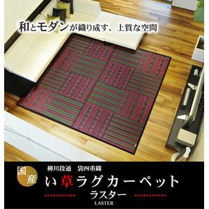純国産/日本製 柳川段通 四重織 い草ラグカーペット 『ラスター』 レッド(赤) 約191×191cm
