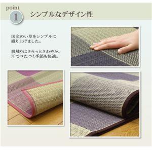 純国産 い草花ござカーペット 『ブロック』 グリーン 江戸間6畳(261×352cm)
