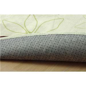 ラグマット カーペット だ円 洗える 抗菌 防臭 無地 『WSプランタ』 グリーン 約140×200cm楕円 (ホットカーペ