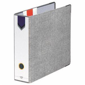 (まとめ) ライオン事務器 AZファイル A4タテ 2穴 470枚収容 背幅89mm グレー No.10 1冊 【×4セット】