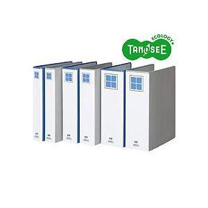 (まとめ)TANOSEE 両開きパイプ式ファイルE A4タテ 80mmとじ 青 10冊