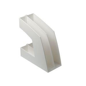 (まとめ)ファイルボックス(仕切り付) A4タテ ホワイト 10個