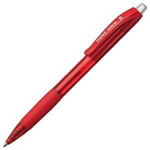 (まとめ) TANOSEE ノック式油性ボールペン(なめらかインク) 0.5mm 赤 1セット(10本) 【×5セット】