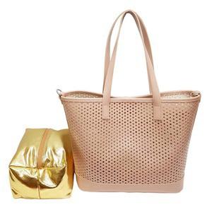 キラキラポーチがポイント メッシュ素材のトートバッグ/ピンク