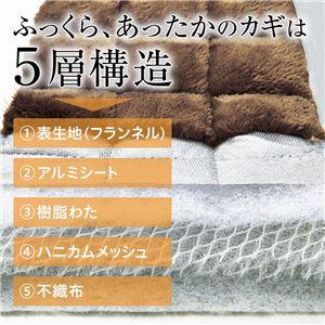 ふっくら5層構造断熱ラグマット 〔長方形 130cm×180cm〕 厚み約28mm ホットカーペットカバー/床暖房対応 ベー