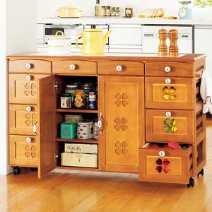 かわいいキッチンカウンター/キッチン収納 〔幅111cm〕 木製 キャスター付き タイル天板 ライトブラウン 〔半完成品〕