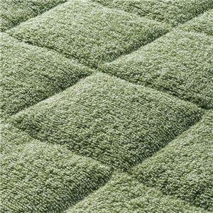 洗える ふんわりタオル地ラグマット 〔グリーン/約190cm×240cm〕 綿100% 裏面滑りにくい加工 〔抗菌防臭 防ダ