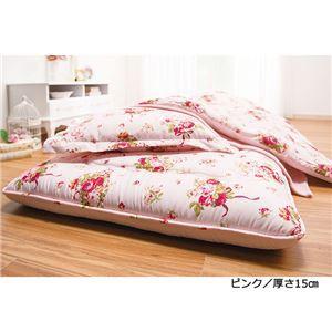 極厚敷布団付き寝具6点セット/布団セット 〔厚さ15cm/ピンク〕 シングル 枕/毛布/収納ケース付き