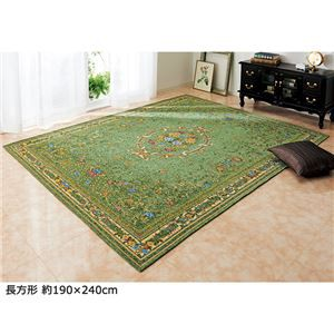 ブーケ柄ゴブラン織カーペット/絨毯 〔2畳/約185×185cm グリーン〕 ホットカーペットカバー・床暖房対応 すべりにく
