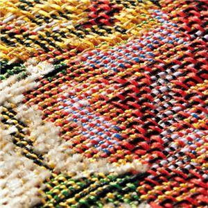 ブーケ柄ゴブラン織カーペット/絨毯 〔長方形/約190×240cm グリーン〕 ホットカーペットカバー・床暖房対応 すべりに