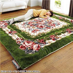 厚みが選べる 蓄熱わた入りボアラグマット/絨毯 単品 〔厚さ3cm 2畳サイズ 180cm×180cm〕 正方形 花柄