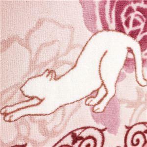 キャット&ローズ抗菌防臭撥水ロングマット ピンク 約65×440cm
