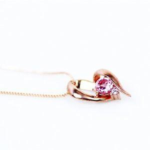 10金ピンクゴールド 天然ダイヤモンド ピンクトルマリン オープンハート デザイン ペンダント ネックレス