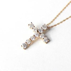 18金ピンクゴールド 1ct ダイヤモンド クロスペンダント