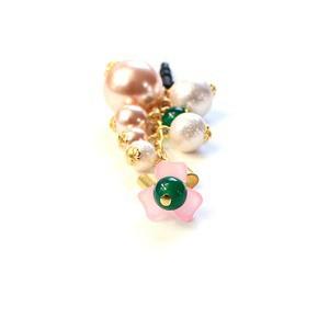 ピンク 緑めのう フラワー スマホピアス イヤホンジャック 携帯ストラップ