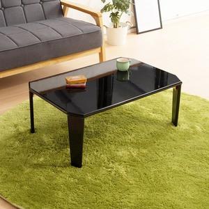 リッチテーブル(75) (ブラック/黒) 幅75cm 机/リビングテーブル/ローテーブル/折りたたみ/北欧風/鏡面加工/