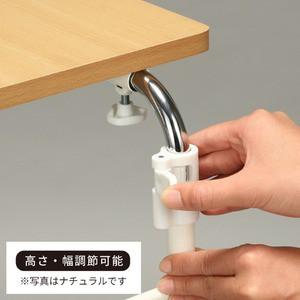 伸縮式ベッドテーブル/サイドテーブル 〔キャスター付き〕 ブラウン 高さ・幅調節/赤外線マウス使用可