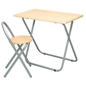 折りたたみテーブル&チェアセット(机1台&椅子1脚) 折りたたみ/木製/スチール/アイアン/パイプイス/作業台/PCデス