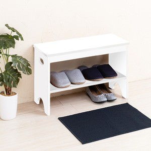 天然木玄関ベンチ(ホワイト/白) 幅60cm 下駄箱/シューズラック付き補助椅子/チェア/木製/天然木/取っ手/収納棚付き/