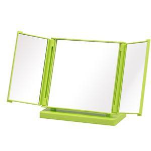 カジュアルコンパクトミラー グリーン 〔12個セット〕(折りたたみ三面鏡/卓上ミラー) 飛散防止加工/角度調整可/スリム/ス