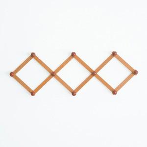 〔20本セット〕コートハンガー〔アコーディオン10玉〕(ブラウン/茶) 幅65cm 壁掛けフック/木製(天然木)/北欧風/ウ