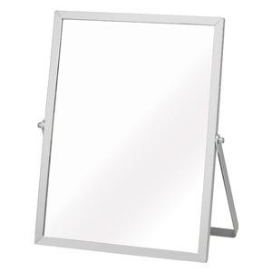 〔12枚セット〕 アルミフレーム卓上ミラー(M/シルバー/銀) 卓上鏡/カガミ/メイク/シンプル/飛散防止加工/角度調整可/
